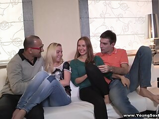 Anna, Angela Sharing the Fruit of Group Sex blonde brunette creampie